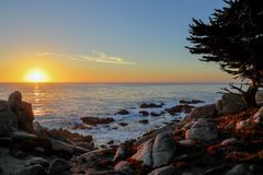 Free Sunset At 17-mile Drive, Pebble Beach, California Royalty Free Stock Photo - 104092395