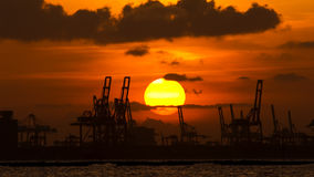 Sunset At Containrt Port Stock Photography