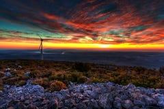 Sunset At Eolic Park Stock Photo