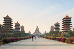 Free Sunset At Fo Guang Shan Buddist Temple Of Kaohsiung, Taiwan With Many Tourists Walking By. Stock Photos - 49691823