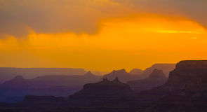 Sunset At Grand Canyon Seen From Desert View Point, South Rim Stock Photo