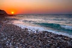Sunset At Mediterranean Beach Stock Photo