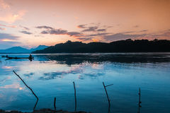Sunset At Mekong River, Laos. Royalty Free Stock Photography