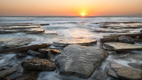 Sunset At Rocky Beach, Cyprus Royalty Free Stock Photography