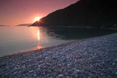 Sunset At The Beach In Montenegro Landscape Stock Image