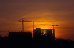 Sunset At The Construction Site. Royalty Free Stock Image
