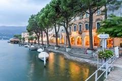 Sunset At The Village Of Morcote On Lake Lugano Stock Photography