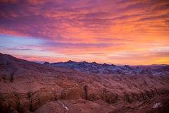 Sunset in the Atacama desert. An exceptionally colorful sunset in the Atacama desert, Chile Stock Photo