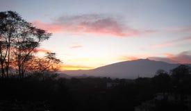 Sunset Atardecer. Sunset with a mountain in the background. Multicolored sky. Atardecer con una montaña en el fondo. Cielo multicolor Royalty Free Stock Photos