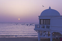 Sunset in Atlantic beach. Andaluscía��, Spain. Stock Photo