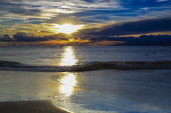Sunset at the Atlantic with clouds on the horizon (Tenerife, La Royalty Free Stock Image