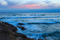 Sunset Atlantic coast Guincho, Portugal. Royalty Free Stock Photography