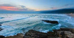 Sunset Atlantic coast Guincho, Portugal. Royalty Free Stock Image