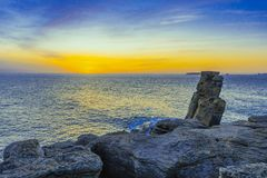 Sunset on the Atlantic coast. Portugal coastline royalty free stock photo