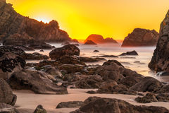Sunset at the Atlantic coast in Portugal Royalty Free Stock Photo