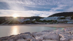 Sunset at the Atlantic Ocean, Bay of Sesimbra stock video footage