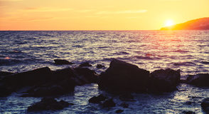 Sunset on the Atlantic ocean coast in Morocco Royalty Free Stock Images