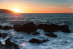 Sunset on Atlantic ocean coast in Morocco, Tangier Royalty Free Stock Image