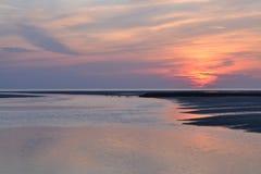 Sunset in Atlantic Ocean near Berk sur Mer Stock Photography