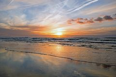 Sunset at the atlantic ocean in Portugal. Europe Royalty Free Stock Photo