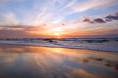 Sunset at the atlantic ocean in Portugal. Europe Stock Photography