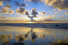 Sunset at the atlantic ocean in Portugal Royalty Free Stock Photos