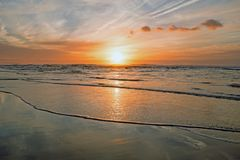 Sunset at the atlantic ocean in Portugal. Europe Royalty Free Stock Photos