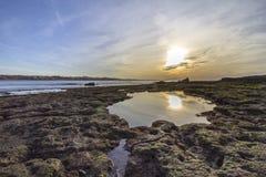 Sunset Atlantic Ocean view at Tamarist beach, in Casablanca sout Royalty Free Stock Images