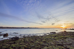 Sunset Atlantic Ocean view at Tamarist beach, in Casablanca Royalty Free Stock Photos
