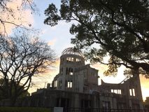 Sunset of Atomic Bomb Dome in Autumn, Hiroshima city, Hiroshima, Japan. Hiroshima city, Hiroshima, Japan - 20th December, 2017: Sunset of Atomic Bomb Dome in Stock Images