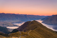 Sunset atop the Ben Lomond Track in South Island, New Zealand. Watching the sky turn shades of pink above Queenstown atop the Ben Lomond Track Royalty Free Stock Photo