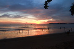 Sunset at Au Nang Beach Krabi in Thailand Stock Photography