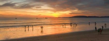 Sunset at Au Nang Beach Krabi in Thailand Stock Photo