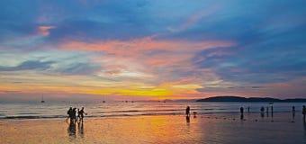Sunset at Au Nang Beach Krabi in Thailand Royalty Free Stock Photos