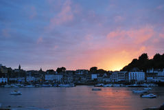 Sunset in Audierne. Small port Audierne in Brittany, France Royalty Free Stock Photo