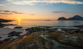 Sunset in August. Lofoten is known for excellent fishing, spectacular nature attractions such as the northern lights and the midnight sun, and small villages off Stock Photography