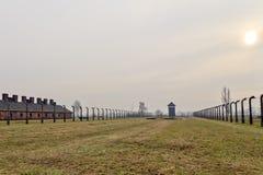 Sunset at Auschwitz Birkenau 2. In Poland Stock Image