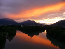 Sunset in Austria - Villach. Beautiful colorful sunset over the Alps Stock Photos
