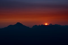 Sunset at austrian alp mountains Stock Image