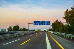 Sunset of autobahn in Europe. Germany 2018 autumn royalty free stock images
