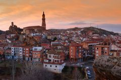 Sunset at Autol village in La Rioja province, Spain. View and Sunset at Autol village in La Rioja province, Spain Stock Images