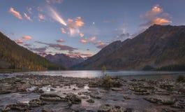Sunset on autumn mountain lake stock photo