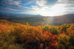 Sunset in the autumn mountains Royalty Free Stock Photography