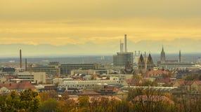 Sunset in autumn season, over Munich Royalty Free Stock Photo