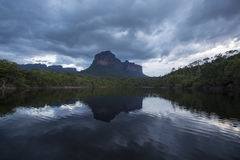 Sunset on the Auyantepui mountain in the Canaima National Park Stock Photography