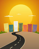Sunset Avenue. Illustration of a cartoon city street road in the sunrise Royalty Free Stock Photography