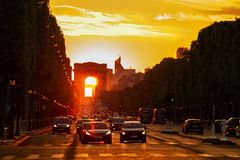 Arch of Triumph Sunset royalty free stock photo