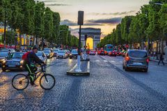 Sunset Champs Elysees. Sunset on avenue Champs Elysees, Paris, France royalty free stock photos