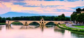 Sunset of Avignon Bridge Royalty Free Stock Photo