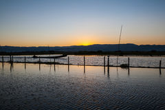 Sunset at  ayeyarwady river, myanmar Royalty Free Stock Photography